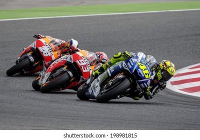 BARCELONA - JUNE 15: Valentino Rossi, Marc Marquez and Dani Pedrosa at GP CATALUNYA MOTO GP at Catalunya Circuit on June 15, 2014 in Barcelona, Spain.