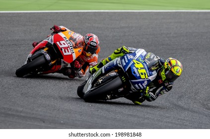 BARCELONA - JUNE 15: Valentino Rossi and Marc Marquez at GP CATALUNYA MOTO GP at Catalunya Circuit on June 15, 2014 in Barcelona, Spain.