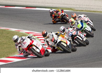 BARCELONA - JUNE 2: Some riders racing at Qualifying Session of Moto2 Grand Prix of Catalunya, on June 2, 2012 in Barcelona, Spain.
