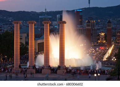 BARCELONA - JUNE 22 Tourist gather to enjoy the Magic Fountain show on Montjuic, on June 22, 2017 in Barcelona, Spain.