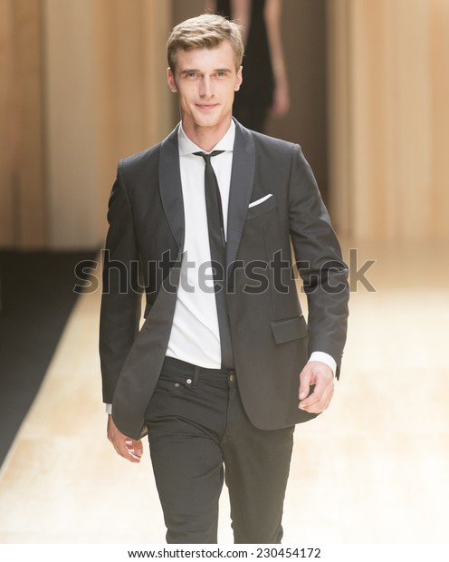 BARCELONA - JUNE 30: french model Clement Chabernaud walks on the Mango catwalk during the 080 Barcelona Fashion runway Spring/Summer 2015 on June 30, 2014 in Barcelona, Spain.