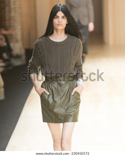 BARCELONA - JUNE 30: a model walks on the Mango catwalk during the 080 Barcelona Fashion runway Spring/Summer 2015 on June 30, 2014 in Barcelona, Spain.