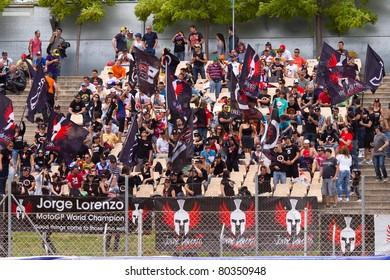 BARCELONA - JUNE 4: Jorge Lorenzo's supporters during Qualifying Session of MotoGP Grand Prix of Catalunya, on June 4, 2011 in Barcelona, Spain.
