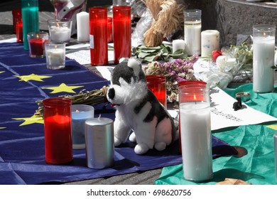 Barcelona. La Rambla, Spain - august 18, 2017: People commemorate those killed after the terrorist attack in Barcelona