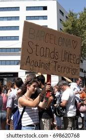 Barcelona. La Rambla, Spain - august 18, 2017: People commemorate those killed after the terrorist attack in Barcelona