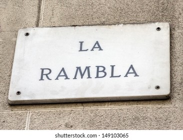 Barcelona landmark - La Rambla street sign in wal, Spain.