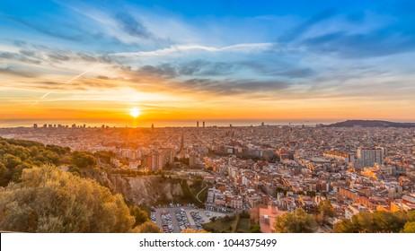 barcelona landscape sunrise