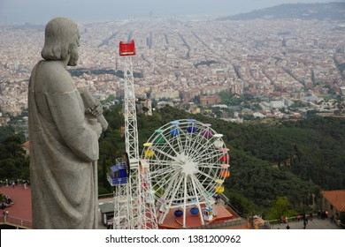 Barcelona Landscape View from Tibidabo
