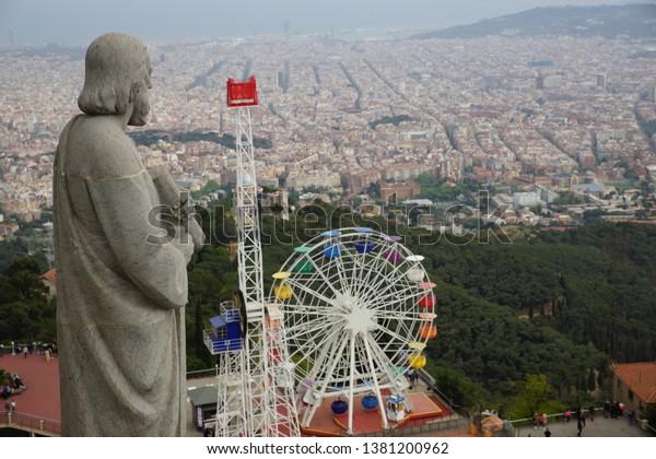 Barcelona Landscape View from Tibidabo