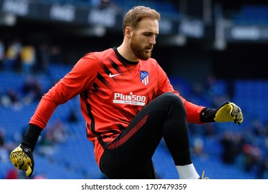 BARCELONA - MAR 1: Jan Oblak plays at the La Liga match between RCD Espanyol and Atletico de Madrid at the RCDE Stadium on March 1, 2020 in Barcelona, Spain.
