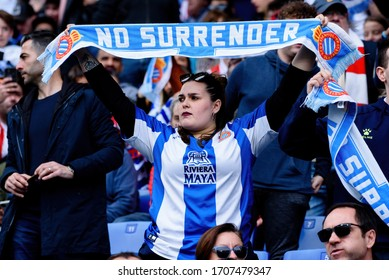 BARCELONA - MAR 1: Supporters at the La Liga match between RCD Espanyol and Atletico de Madrid at the RCDE Stadium on March 1, 2020 in Barcelona, Spain.