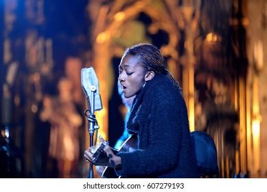 BARCELONA - MAR 11: Ala.ni (band) perform in concert at Basilica Santa Maria del Pi church on March 11, 2017 in Barcelona, Spain.