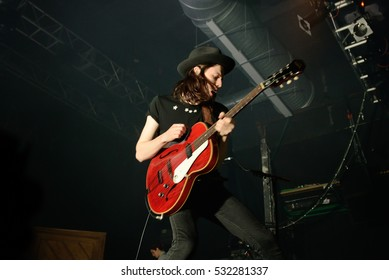 BARCELONA - MAR 12: James Bay (singer and guitarist) performs at Razzmatazz stage on March 12, 2016 in Barcelona, Spain.