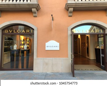 BARCELONA - MAR 13: The Bvlgari store at La Roca Village (Chic Outlet Shopping) on March 13, 2018 in Barcelona, Spain.