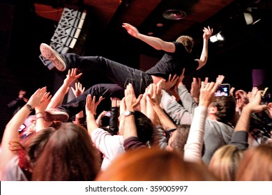 BARCELONA - MAR 18: The singer of The Subways (rock band) performs with the crowd at Bikini stage on March 18, 2015 in Barcelona, Spain.