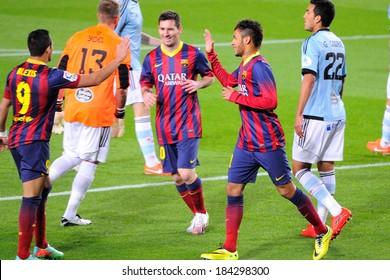 BARCELONA - MAR 26: Alexis Sanchez (left), Leo Messi (center) and Neymar (right) celebrate a goal at the Camp Nou on the Spanish League (F.C. Barcelona - Celta) on March 26, 2014 in Barcelona, Spain.