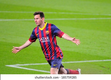 BARCELONA - MAR 26: Lionel Messi (left), Argentinean F.C Barcelona player, celebrates his goal against Celta de Vigo at the Camp Nou on the Spanish League on March 26, 2014 in Barcelona, Spain.