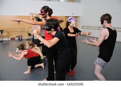BARCELONA - MAR 3: Actors play Commedia dell'arte on March 3, 2011 in Barcelona, Spain. Is a form of theater characterized by masked types which began in Italy.