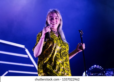 BARCELONA - MAR 9: Billie Eilish performs in concert at Sant Jordi Club on March 9, 2019 in Barcelona, Spain.