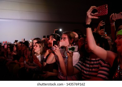 BARCELONA - MAR 9: The crowd in a concert at Sant Jordi Club stage on March 9, 2019 in Barcelona, Spain.