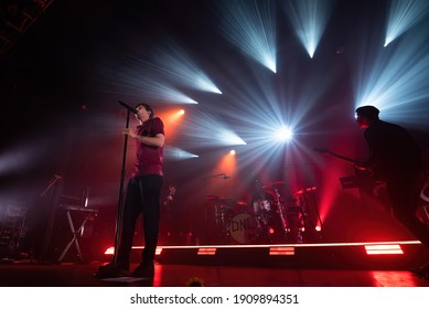 BARCELONA - MAR 9: Louis Tomlinson (singer of One Direction band) performs in concert at Razzmatazz stage on March 9, 2020 in Barcelona, Spain.