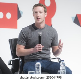 BARCELONA - MARCH 02: Facebook CEO Mark Zuckerberg speaking at the Mobile World Congress on March 02, 2015, Barcelona, Spain.