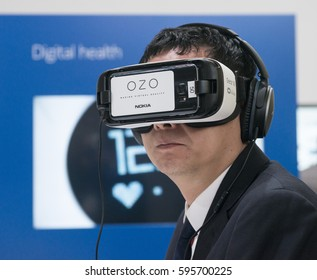 BARCELONA - MARCH 02: the new Nokia Ozo Oculus a 360-degree glasses mobile virtual reality device on the Nokia stand at the Mobile World Congress 2017 on March 02, 2017, Barcelona, Spain.