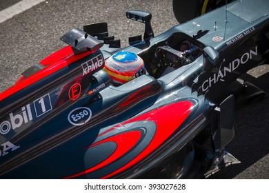 BARCELONA - MARCH 1: Fernando Alonso of McLaren-Honda F1 Team at Formula One Test Days at Catalunya circuit on March 1, 2016 in Barcelona, Spain.
