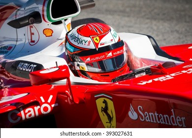 BARCELONA - MARCH 1: Kimi Raikkonen of Ferrari F1 Team at Formula One Test Days at Catalunya circuit on March 1, 2016 in Barcelona, Spain.