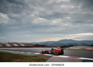 BARCELONA - MARCH 1: Max Verstappen of Scuderia Toro Rosso F1 team at Formula One Test Days at Catalunya circuit on March 1, 2015 in Barcelona, Spain.