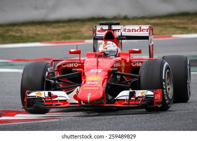 BARCELONA - MARCH 1: Sebastian Vettel of Scuderia Ferrari F1 team at Formula One Test Days at Catalunya circuit on March 1, 2015 in Barcelona, Spain.