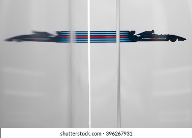 BARCELONA - MARCH 2: Logo of Williams F1 Team reflected between team trucks at Formula One Test Days at Catalunya circuit on March 2, 2016 in Barcelona, Spain.