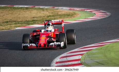BARCELONA - MARCH 2: Sebastian Vettel of Ferrari F1 Team at Formula One Test Days at Catalunya circuit on March 2, 2016 in Barcelona, Spain.