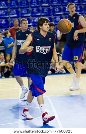 76f5a764343 BARCELONA - MARCH 24  Ricky Rubio (9) in action during the Euroleague  basketball