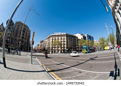 Barcelona March 28, 2017. View of Paseo de Gracia, the Golden Mile, the luxurious avenue in Barcelona, Eixample  District. Catalonia, Spain.