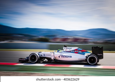 BARCELONA - MARCH 3: Felipe Massa of Williams F1 Team at Formula One Test Days at Catalunya circuit on March 3, 2016 in Barcelona, Spain.