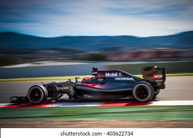 BARCELONA - MARCH 3: Fernando Alonso of McLaren-Honda F1 Team at Formula One Test Days at Catalunya circuit on March 3, 2016 in Barcelona, Spain.