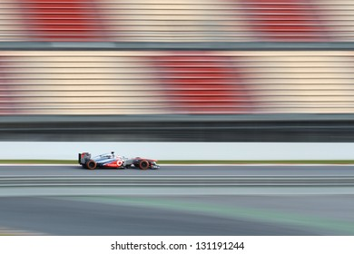 BARCELONA - MARCH 3: Jenson Button of McLaren F1 team during Formula One Test Days at Catalunya circuit on March 3, 2013 in Barcelona, Spain.