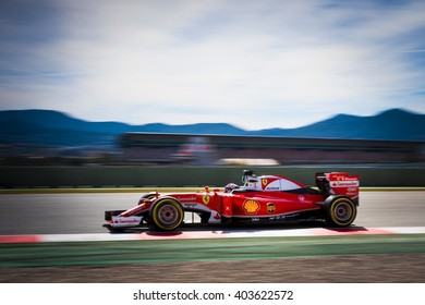 BARCELONA - MARCH 3: Kimi Raikkonen of Ferrari F1 Team at Formula One Test Days at Catalunya circuit on March 3, 2016 in Barcelona, Spain.