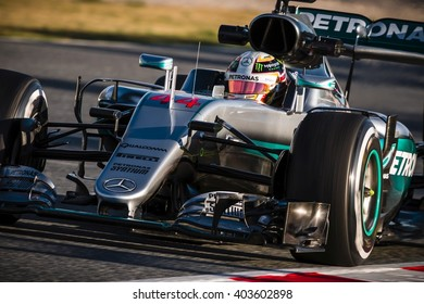 BARCELONA - MARCH 3: Lewis Hamilton of Mercedes F1 Team at Formula One Test Days at Catalunya circuit on March 3, 2016 in Barcelona, Spain.