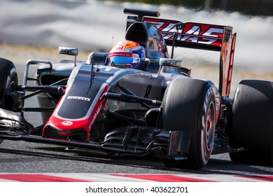 BARCELONA - MARCH 3: Romain Grosjean of Haas F1 Team at Formula One Test Days at Catalunya circuit on March 3, 2016 in Barcelona, Spain.