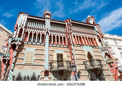 BARCELONA - MARCH 31, 2018: Casa Vicens is a house in Barcelona, designed by Antoni Gaudi, now a museum. One of the first buildings of Art Nouveau and was the first house designed by Gaudi