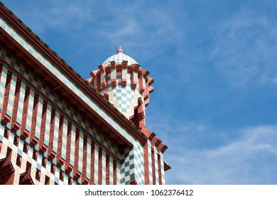 BARCELONA - MARCH 31, 2018: Casa Vicens is a house in Barcelona, designed by Antoni Gaudi, now a museum. One of the first buildings of Art Nouveau and was the first house designed by Gaudi­