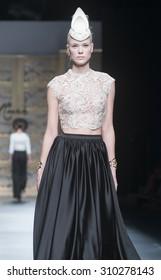 3f464c147d4 BARCELONA - MAY 08  a model walks on the Carla Ruiz bridal collection 2016  catwalk