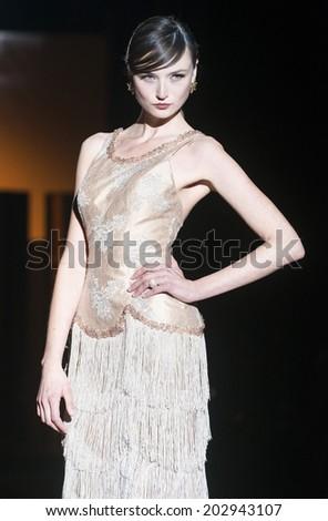 2fef2873d2f BARCELONA - MAY 09  a model walks on the Carla Ruiz bridal collection 2015  catwalk