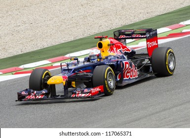 BARCELONA - MAY 12: Sebastian Vettel of Red Bull F1 team racing at Qualifying Session of Formula One Spanish Grand Prix at Catalunya circuit, on May 12, 2012 in Barcelona, Spain.