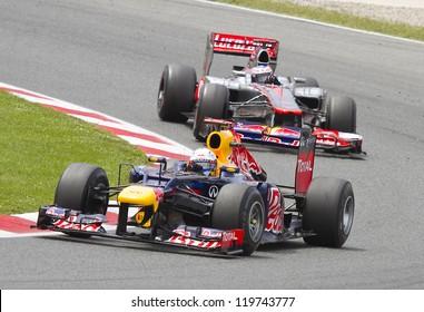 BARCELONA - MAY 13: Sebastian Vettel of Red Bull F1 team racing at the Formula One Spanish Grand Prix at Catalunya circuit, on May 13, 2012 in Barcelona, Spain. The winner was Pastor Maldonado.