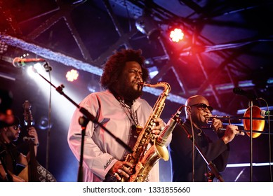 BARCELONA - MAY 14: Kamasi Washington (jazz band) perform in concert at Razzmatazz stage on May 14, 2018 in Barcelona, Spain.