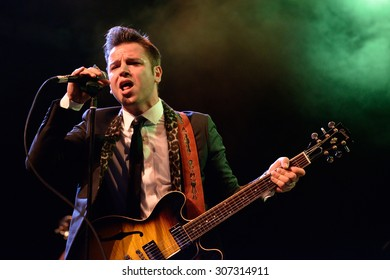 BARCELONA - MAY 15: Eli Paperboy Reed, American singer and songwriter, performs at Barts stage on May 15, 2014 in Barcelona, Spain.