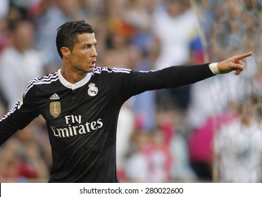 BARCELONA - MAY, 17: Cristiano Ronaldo of Real Madrid celebrating a goal of during a Spanish League match against RCD Espanyol at the Power8 stadium on Maig 17 2015 in Barcelona Spain